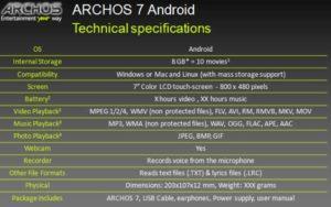 archos4 specs