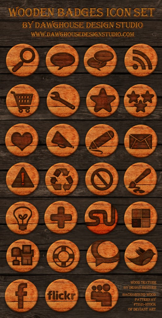 Wooden Badges Icons Dawghouse