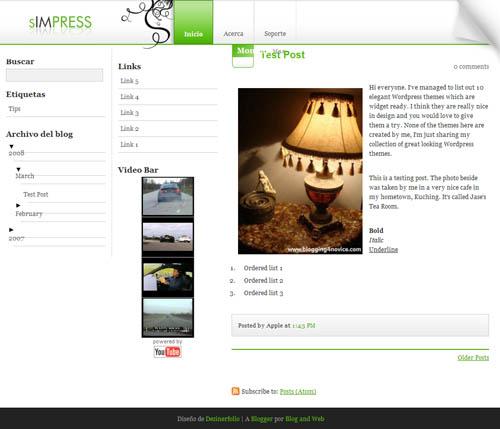 sIMPRESS: WordPress Theme de 3 columnas, sencillo y muy funcional