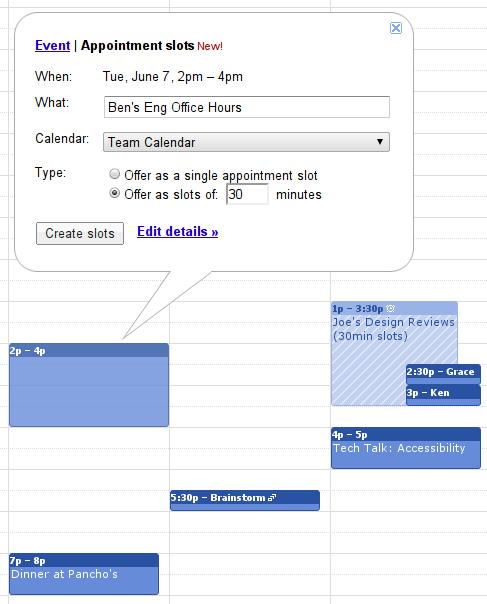 Espacios para citas, nueva funcionalidad de Google Calendar