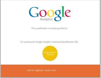certificado de Google Analytics oficial