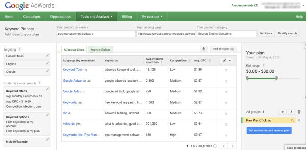 keywords planer Google