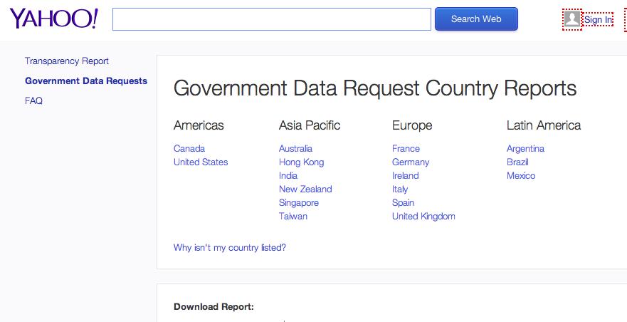 informe Yahoo transparencia