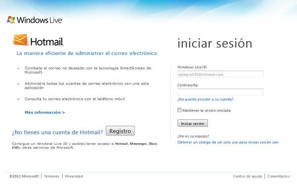 Recuperar una cuenta de Hotmail 1