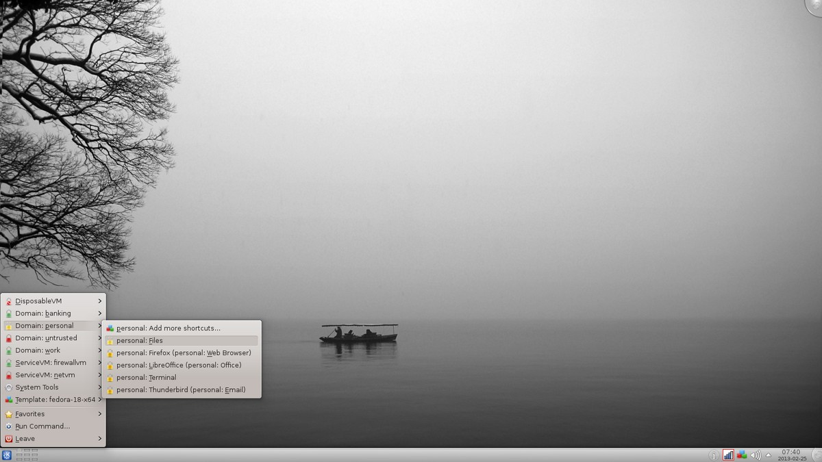 Escritorio sistema operativo Qubes OS