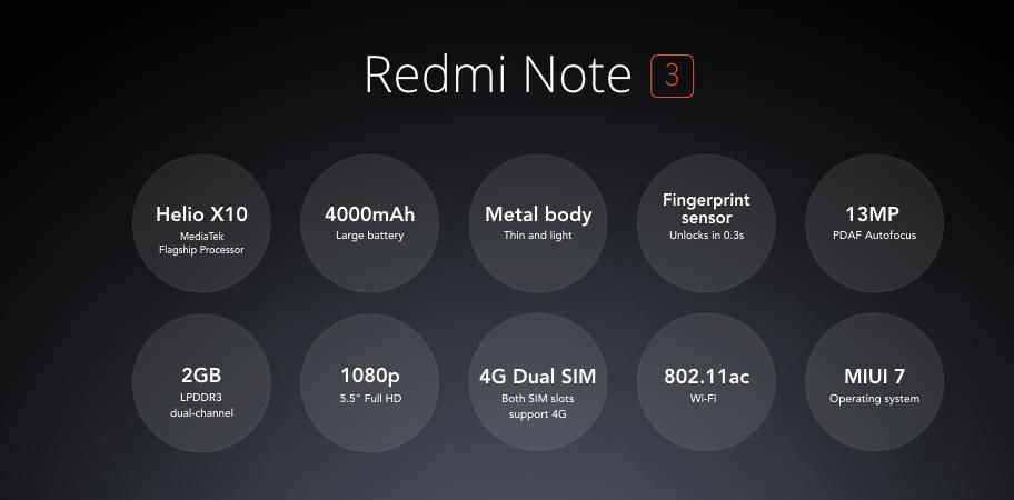 xiaomi Redmi Note 3 - características