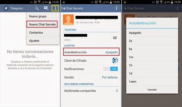 aplicación Telegram - chats secretos