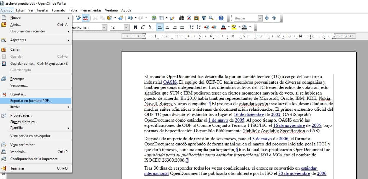 exportar pdf openwrite